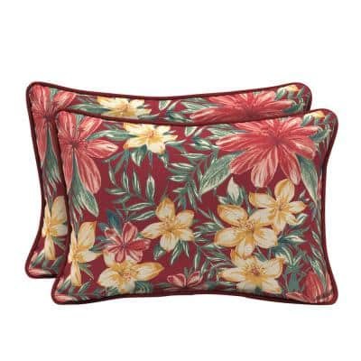 22 x 15 Ruby Clarissa Tropical Reversible Oversized Lumbar Outdoor Throw Pillow (2-Pack)