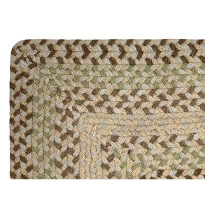 Woodbridge Braid Collection Durable Mildew and Moisture Resistant Reversible Ivory 2 ft. x 9 ft. Wool Runner Rug