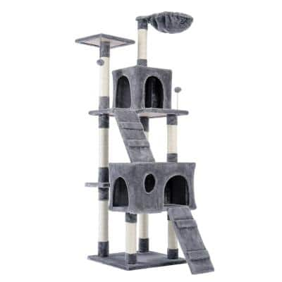 Luxury Furniture 173 cm Pet Cat Tree Tower Climbing Shelf Cat Apartment Game Habitat Cat Tower Condo Toy