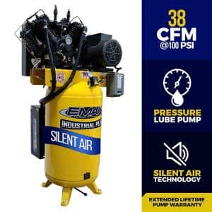 Industrial PLUS 80 Gal. 10 HP 1-Phase Silent Air Electric Air Compressor with pressure lubricated pump