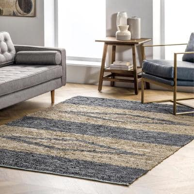 Farren Diamond Gray 5 ft. x 8 ft. Leather Indoor Area Rug