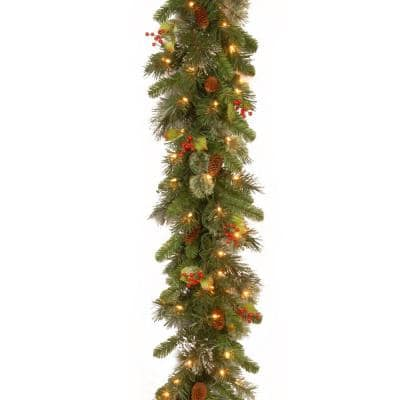Wintry Pine 9 ft. Garland with Clear Lights