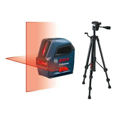 50 ft. Self Leveling Cross Line Laser Level with Plumb Points and Bonus Compact Tripod with Extendable Height