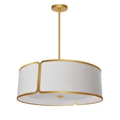 Notched Drum 3-Light Gold LED Pendant with White Fabric Shade