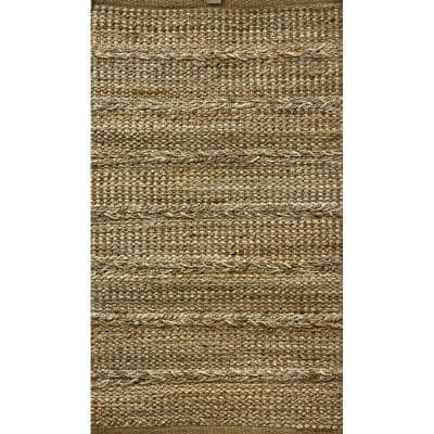 Woven Dusty Gray 2 ft. x 5 ft. Braided Natural Jute Area Rug