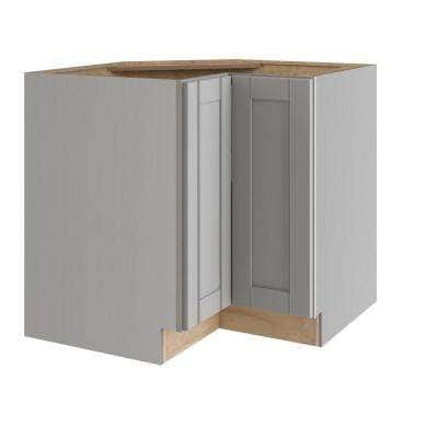 Veiled Gray Shaker Assembled Plywood 36 in. x 34.5 in. x 24 in. Easy Reach Corner Base Kitchen Cabinet Left Hand