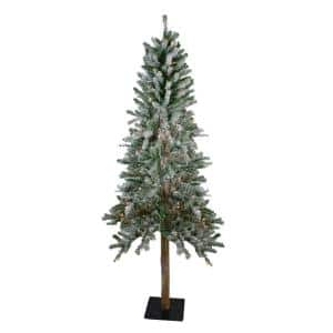 6 ft. Pre-Lit Flocked Alpine Artificial Christmas Tree with Multi-Lights