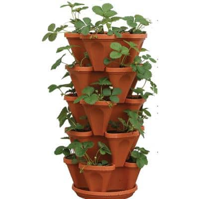 12 in. x 5.5 in. Terracotta Plastic Vertical Stackable Planter (5-Pack)