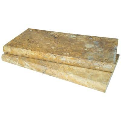 Riviera 2 in. x 12 in. x 24 in. Brushed Travertine Pool Coping (40 Pieces/80 sq. ft./Pallet)