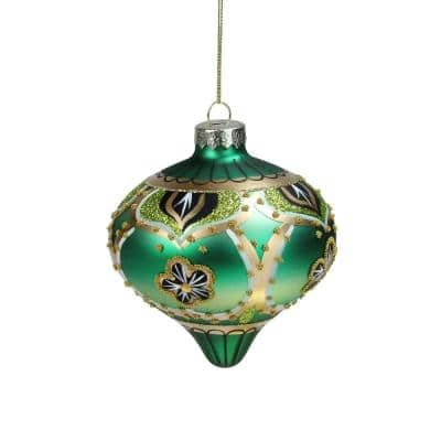 4.5 in. Embellished Green and Gold Onion Christmas Ornament with Beaded Elements