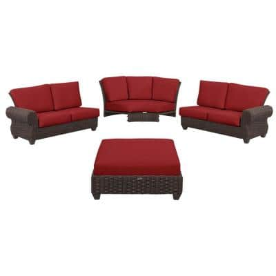 Mill Valley 4-Piece Brown Wicker Outdoor Patio Sectional Sofa Set with CushionGuard Chili Red Cushions