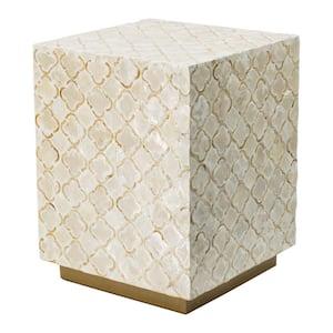 Cream, Bronze Non-Upholstered Stool