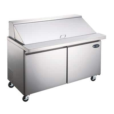 36.25 in. W 7.8 cu. ft. Commercial Mega Food Prep Table Refrigerator Cooler in Stainless Steel