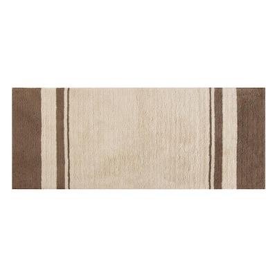 Downton Beige 24 in. x 60 in. Stripe Cotton Bath Mat
