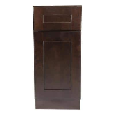 Brookings Plywood Ready to Assemble Shaker 9x34.5x24 in. 1-Door 1-Drawer Base Kitchen Cabinet in Espresso