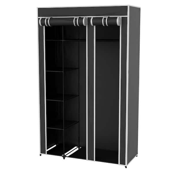 Lavish Home Black Portable Closet 43, Wardrobe Cabinet Home Depot