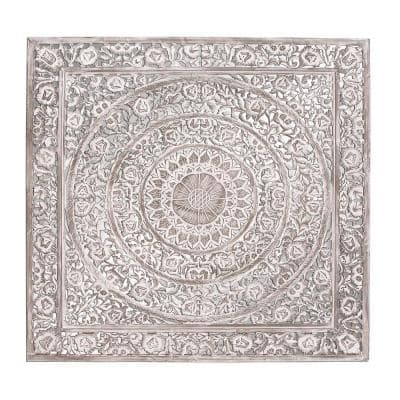 """60 in. x 60 in. """"Antique White Carved Botanical Scrollwork"""" Framed Wooden Wall Art"""