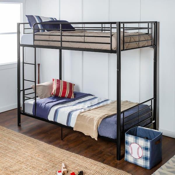 Walker Edison Furniture Company Modern Premium Metal Twin over Twin Bunk Bed - Black | The Home Depot