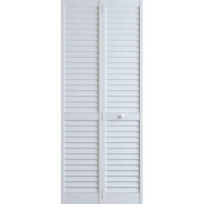 36 in. x 80 in. Louver Pine White Plantation Interior Closet Bi-fold Door