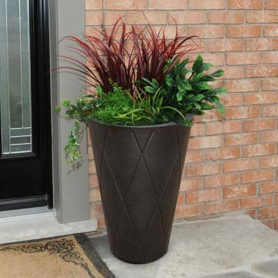 Self-Watering Versailles 26 in. Espresso Tall Round Planter