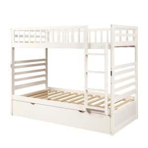 White Twin Over Twin Bunk Beds with Moveable Trunble