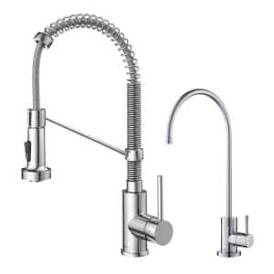 Bolden Commercial 1-Handle Pull-Down Kitchen Faucet and Purita Water Filtration Faucet in Chrome