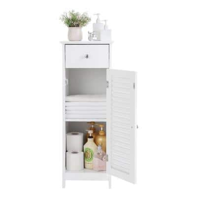12.6 in. W x 34 in. H x 12 in. D Waterproof Bathroom Floor Storage Linen Cabinets with Drawer Space Saver in White