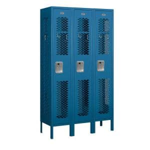 Salsbury Industries 71000 Series 3 Compartments Single Tier 36 In W X 66 In H X 12 In D Vented Metal Locker Unassembled In Blue 71352bl U The Home Depot