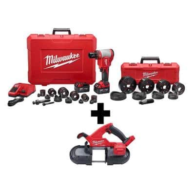 M18 18-Volt Lithium-Ion 1/2 in. to 4 in. Force Logic High Capacity Cordless Knockout Tool Kit with FUEL Bandsaw