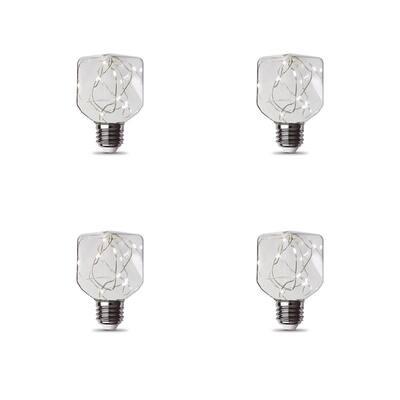 11-Watt Equivalent Square-Shape Fairy Light Clear Glass Light Bulb in Soft White (4-Pack)