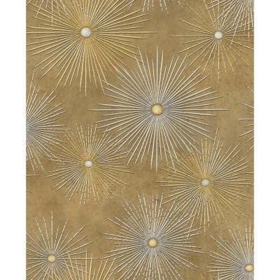 Catwalk Starburst Metallic Gold and Rust Paper Strippable Roll (Covers 56.05 sq. ft.)