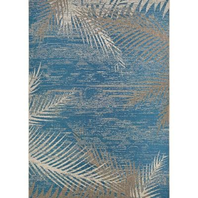 Monaco Tropical Palms Ocean 5 ft. x 8 ft. Indoor/Outdoor Area Rug