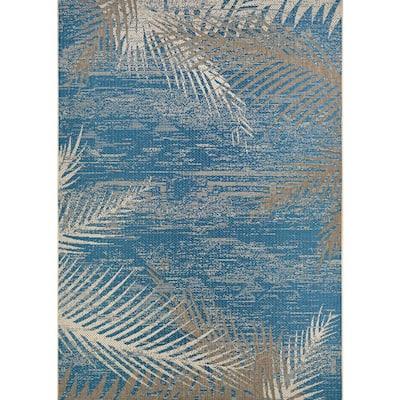 Monaco Tropical Palms Ocean 8 ft. x 11 ft. Indoor/Outdoor Area Rug