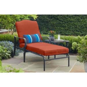 Laurel Oaks Brown Steel Outdoor Patio Chaise Lounge with CushionGuard Quarry Red Cushions