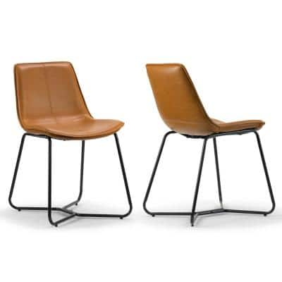 Amery Iron Frame Vintage Cappuccino Faux Leather Dining Chair (Set of 2)