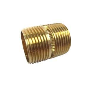 1 in. x Close MIP Red Brass Nipple Fitting