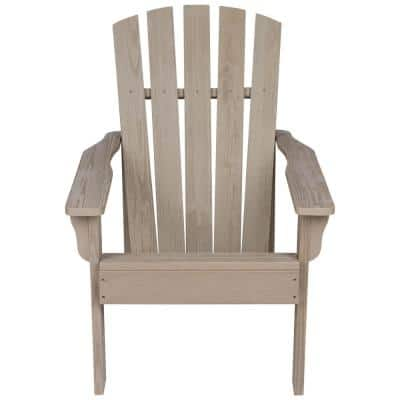 36 in. Tall Vineyard Taupe Gray Wooden Patio Adirondack Chair