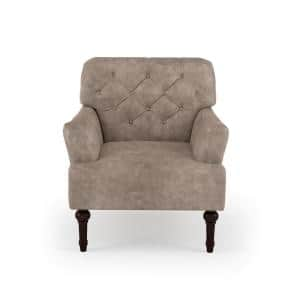 Danelle Brown Faux Leather Upholstery Button Tufted Accent Chair