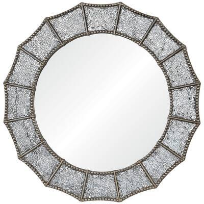 Medium Round Silver Antiqued Glam Mirror (32 in. Diameter)