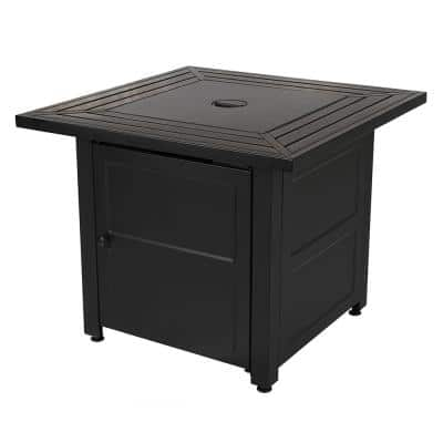30 in. W x 24.6 in. H Square Steel Propane Black Slate Fire Pit with Stamped Steel Black Base and 50000 BTU Burner