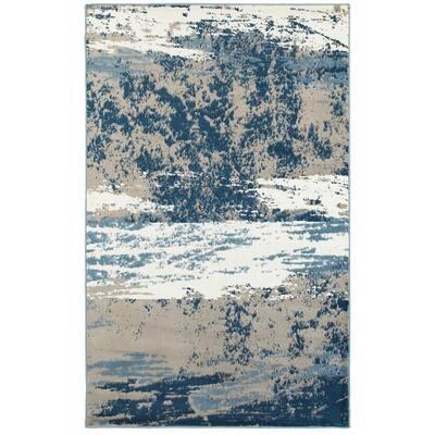 Matrix Light Beige/Soft Blue Rectangle 7 ft. 9 in. x 9 ft. 5 in. Indoor Area Rug