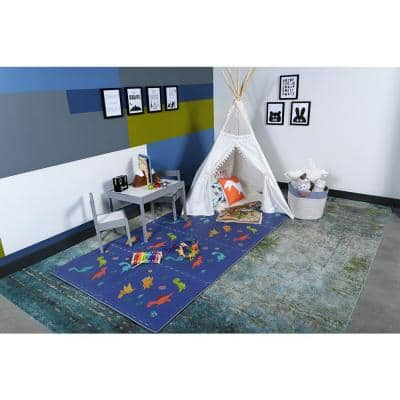 Reversible Dino/Aqua Children's Designer 24 in. x 24 in. x 0.47 in. Foam Mats (4-Pack)