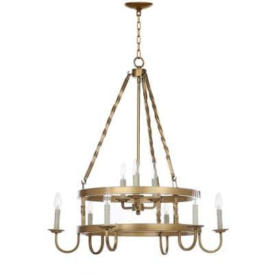 Crowley 9-Light Gold Wagon Wheel Candle-Style Chandelier