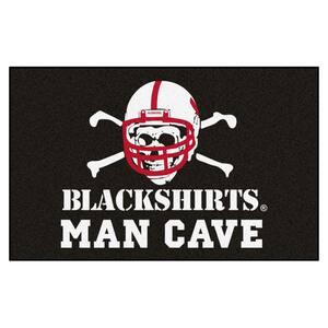 NCAA - University of Nebraska – Black Shirts 5 ft. x 8 ft. Man Cave UltiMat Indoor Area Rug