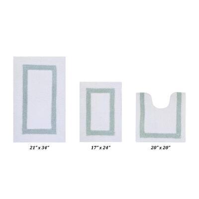 "Hotel Collection White/Blue (17"" x 24"" : 20"" x 20"" : 21"" x 34"") 100% Cotton 3 Piece Bath Rug Set"