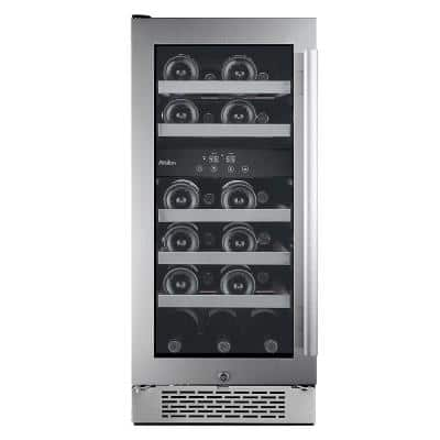 23-Bottle 15 in. Dual Zone Built in Wine Cooler with Argon Filled Double Paned Glass - Left Hinge
