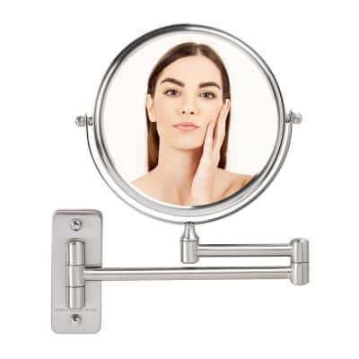 Small Round Wall Mounted Nickel Brushed Makeup Mirror (11 in. H x 1.4 in. W), 1x-7x Magnification