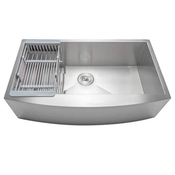 Akdy Handmade Farmhouse Stainless Steel 30 In X 20 In Single Bowl Kitchen Sink With Drying Rack Ks0118 The Home Depot