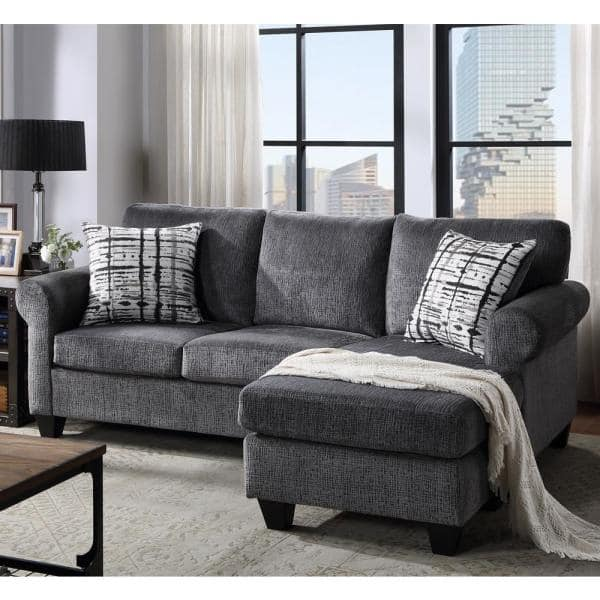 Magic Home 2 Piece Gray Soft Polyester, Sectionals And Sofas
