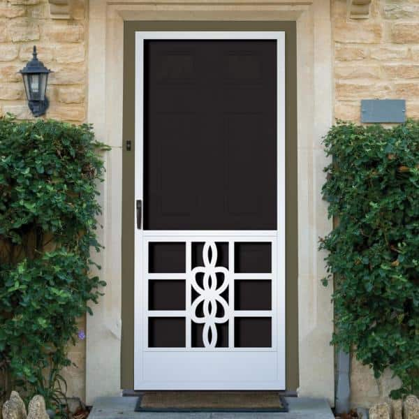 Unique Home Designs 36 In X 80 In Biscayne White Outswing Metal Hinged Screen Door Ishm450036wht The Home Depot